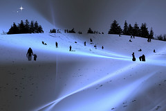 The Hill (Doris Burfind) Tags: winter people snow tobogganing sledding landscape family outdoor recreation fun
