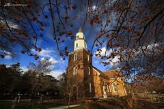 Divine frame in Williamsburg (Matt Straite Photography) Tags: church williamsburg virginia historical trees red clouds sun canon