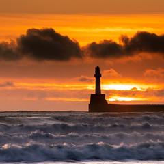 Lighthouse (PeskyMesky) Tags: lighthouse aberdeen aberdeenbeach sunrise sunset storm scotland landscape water wave red sky sea