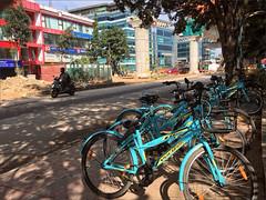 Hire Bikes (meniscuslens) Tags: bangalore bengaluru bike bicycle street moped india shadow
