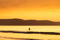 Summer Dawn Seascape and Swimmer Silhouette (Merrillie) Tags: daybreak sunrise nature water landscape sky newsouthwales sea uminabeach morning waves beach ocean coast nsw earlymorning coastal dawn outdoors waterscape australia centralcoast seascape seaside