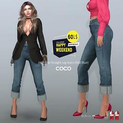 60L$ Happy Weekend @COCO (cocoro Lemon) Tags: coco 60l happyweekend highrise straightleg jeans secondlife fashion maitreya belleza slink legacy