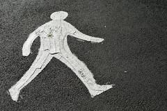 Hammersmith Bridge Rd. 8feb20 (richardbw9) Tags: london uk hammersmith bridgeroad pedestrian walking streetmarking paint thick thickpaint impasto city street urban flyover streetshot streetphoto streetphotography gender bias male nohands whiteguy walker waling bulge chalk outline