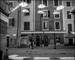 Hanging Down (GColoPhotographer) Tags: umbrella bw liguria bianconero blackandwhite urbanexploration street
