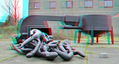 Sculpture garden AVL Mundo Rotterdam 3D (wim hoppenbrouwers) Tags: sculpture garden 3d rotterdam anaglyph stereo sculpturegarden mundo avl redcyan rotterdam3d avlmundo grinder