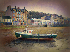 High and Dry in Oban (Rollingstone1) Tags: oban scotland boat fishing harbour shore beach buildings shops sky texture vivid colour argyll town art artwork trees outdoor marine maritime coast