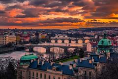 Sunset in Prague (Vagelis Pikoulas) Tags: prague praha czech republic sun sunset landscape city cityscape river moldava canon 6d architecture travel 2020 winter february tokina 2470mm