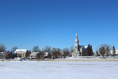 Panorama of Beloeil, Quebec, Canada in winter from across the Richelieu River (pegase1972) Tags: quebec canada montérégie mon hiver winter cold froid snow neige church église qc licensed exclusive getty