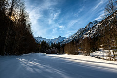 landscape - 0128 (helmet13) Tags: d800e raw landscape landschaft winter barn snow forest wood silence peaceful trees shadows allgäu mountains bavaria germany trettachtal thealps peaceaward aoi world100f