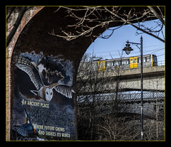 An ancient place (Blaydon52C) Tags: newcastle metro byker ouseburn twpte tram valle rail railway trains tyne viaduct railways nexus quayside viaducts metrocammell bridge