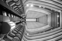 The Lines on Your Page of Memories (Thomas Hawk) Tags: america atlanta atlantamarriottmarquis georgia johnportman marquis marriott marriottmarquis portman usa unitedstates unitedstatesofamerica architecture bw elevator fav10 fav25 fav50 fav100