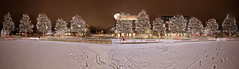Uptown Circe 2020-02-06 (Gregg Kiesewetter) Tags: normalillinois uptowncircle uptowncrossing uptownnormal urbanphotography nightphotography panoramic winter snow holidaylights hugin aurorahdr2018