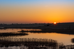 Maxey Sunrise (Graham00McFarlane) Tags: sunrise maxey gravel pit gravelpit cambs cambridgeshire tarmac naturereserve reeds reedbed reedbeds lake water sun yelow blue pastel