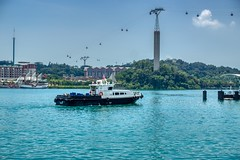 Singapore harbour with boat and cable car to Sentosa island (UweBKK (α 77 on )) Tags: singapore southeast asia sony alpha 77 slt dslr city urban harbour harbourfront ship boat water sentosa island cablecar cable car