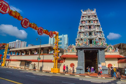 Sri Mariamman temple on Southbridge road in Chinatown in Singapore