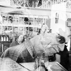 Range Café double exposure (johngpt) Tags: attherangecafé doubleexposure places appleiphone7plus lowylensblackeysxffilmnoflash tpfbwdoubleexposurechallenge