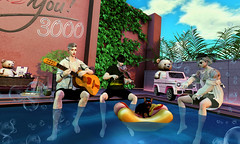 Music touches us emotionally, where words alone can't. (Chiaki♪) Tags: sec secondlife happy music violin guitar pool bear basket valentines party 3000 water sky summer mood menactivity swimmingpool bibble bubble teddy musician tattoo dog animal frenchie plant