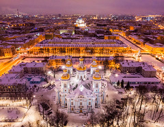 St. Nicholas Naval Cathedral (filchist) Tags: magenta cityscape wintercity winter night stnicholasnavalcathedral петербург никольскийморскойсобор закат город дрон перспектива dji dusk airview evening orthodoxcathedral cityview