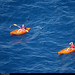 20170712_1 Two people paddling orange kayaks between Vernazza & Monterosso, Cinque Terre, Italy