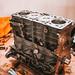 Old car engine close up