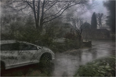 Day 040 Batten down the hatches (Dominic@Caterham) Tags: stormciara car road rain wind trees blur reflections