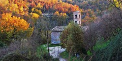 The medieval church in the woods, in Autumn (Gigliola Spaziano) Tags: explore outside nature autumn fall woodland woods forest leaves colors medieval church trees bell tower white street