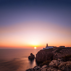 Sunset at the Lighthouse (frank_w_aus_l) Tags: natur algarve sunset color blue sun shadow contemplation lighthouse square nikon d810 nikkor rocks coast coastline reflection sky longexposure fineart