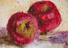 Painted Apples (ertolima) Tags: macromondays painted hmm macro art paint brushmarks apples red pink
