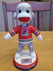Rockford Icehogs Sock Monkey bobblehead - gameday giveaway 2/9/2020 (happily Evan after) Tags: rockford icehogs sock monkey bobblehead hockey ahl gameday giveaway 292020