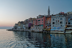 Nightfall in Rovinj (Tjaldur66) Tags: sea seashore coast waterfront city oldtown historictown church peninsula colourfulhouses picturesque sightseeing travel evening eveningmood bluehour dusk mediterranean croatia istria rovinj