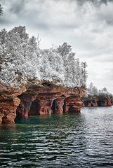 Mock Winter at the Apostles (TCeMedia/Telecide) Tags: infrared bayfield apostle islands island devils wisconsin effect mock winter clouds caves
