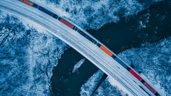 Cool Blue (benpsut) Tags: bridge dji djimavic2pro drone mavic2pro mineralpoint ns ns20r nspittsburghline norfolksouthern snow winter blue cold color colorful cool coolblue dronephotography fly railroad river snowflake snowy trains viaduct