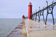 025673a  Sunny Days Are Made For Red (David G. Hoffman) Tags: red lake lakeshore lakemichigan lighthouse catwalk pier horizon