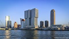 Rotterdam, Netherlands: Wilhelminaplein skyline viewed from Nieuwe Maas (nabobswims) Tags: hdr highdynamicrange ilce6000 lightroom mirrorless nl nabob nabobswims netherlands nieuwemaas photomatix river rotterdam sel18105g skyscraper sonya6000 zuidholland