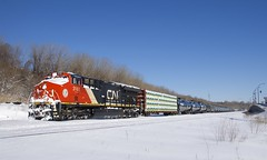 Parked due to a blockade (Michael Berry Railfan) Tags: cn3161 cn305 cn canadiannational et44ac ge generalelectric gevo montreal montrealsub winter snow