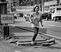 In a hurry? (Beegee49) Tags: street people running woman filipina blackandwhite monochrome sony a6000 bw bacolod city philippines asia happyplanet asiafavorites