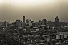The City of Cincinnati, Old Timey (Just By Chance Photography) Tags: park city ohio panorama canon vintage landscape cityscape stm overlook cincinatti t6 overwatch devou devoupark 18135mm dreespark dreepark cincinnati