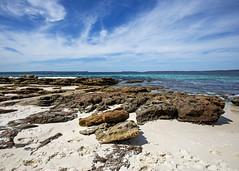 Hyams Beach (fantommst) Tags: shoalhaven nsw newsouthwales au aus australia hyams beach rocky white sand teal water sea ocean jervisbay clouds seascape cloudy outcrop