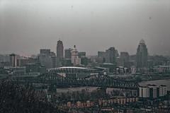 The City of Cincinnati, Gloomy Snow Day (Just By Chance Photography) Tags: park city ohio panorama canon vintage landscape cityscape stm overlook cincinatti t6 overwatch devou devoupark 18135mm dreespark dreepark cincinnati