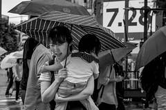 Tokyo 2019 (burnt dirt) Tags: shibuya tokyo japan asia japanese asian candid documentary street photography downtown metro urban city scramble crossing outdoor people person fujifilm xt3 fujinon 50mm f2 bw blackandwhite monotone monochrome woman girl smile laugh train station style fashion life real crowd tourist emotion expression portrait close nippon rain umbrella mother child family