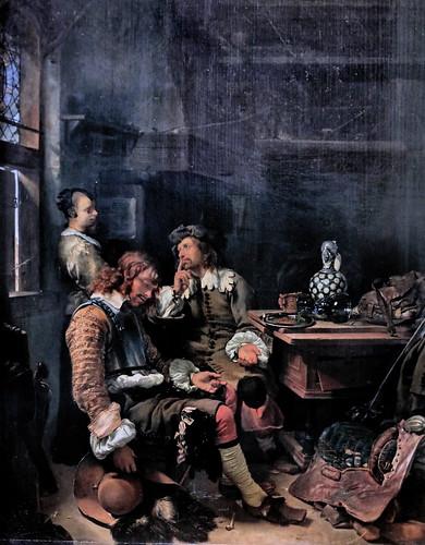 IMG_6530F Franz van Mieris I 1635-1681 Leyde  Officier endormi dans une taverne Officer asleep in an tavern  ca 1666 Munich Alte Pinakothek