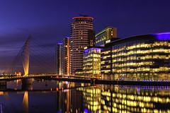 Lights Camera Action (Kev Walker ¦ Thank You 4 Comments n Faves) Tags: manchester architecture england quayside canal cityscape landmark salford mediacity commercial bridge city salfordquays river urban skyline reflection dusk media tv modern uk studios buildings broadcasting shipcanal water dock quays bbc building footbridge skyscraper travel quay night sky britain office blue suspension apartments offices reflectioninwater mediacitysalford televisionstudio colorful mediacitymanchester mirrorreflection