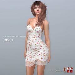COCO Group Gift : Lace Hem Cami Dress (Pink Flowers) (cocoro Lemon) Tags: coco gift cami dress valentine secondlife fashion mesh maitreya belleza slink legacy
