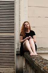 Manon. (Nicolas Fourny photographie) Tags: canon 6d 50mm nakedfeet summer naturallight nomakeup sensual sensuality portrait portraiture womanportrait girlportrait redhair longhair eroticism blackdress beautifuldecay decaying dof depthoffield redhead model beauty
