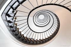 Munich Maelstrom (bjoernahrensfotografie) Tags: munich münchen architektur architecture minimal spiral abstract abstrakt lookup stairs staircase treppe treppenhaus