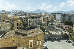 Palermo Rooftop View from Hotel Room (fotofrysk) Tags: italy sicily palermo cruiseandferryharbour europeanunion eu ioniansea mediterraneansea hotelview rooftops hills buildings homes 201909258668