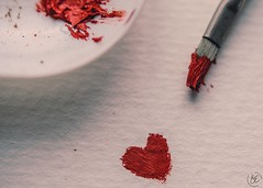 ~Sometimes the heart sees what is invisible to the eye. (Fire Fighter's Wife) Tags: macro macromondays macromonday happymacromonday hmm painted paint heart red redheart paintedheart love valentinesday happyvalentinesday brush paintbrush tray painttray paper oilpastels nikon nikond750 60mm mm
