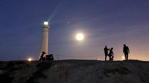 Full moon at the el Hank lighthouse Casablanca