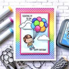 Floating By (The Queen's Scene) Tags: card cardmaking stamping papercrafting handmadecard sunnystudiostamps birthdaycard balloons rainbow