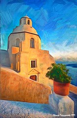 30 new web Fira, Santorini island, Greece (mymemoriesofgreece) Tags: photopainting photoimpressionism digitalart landscapes seascapes travelphotography fira santorini greece awardtree sunsets